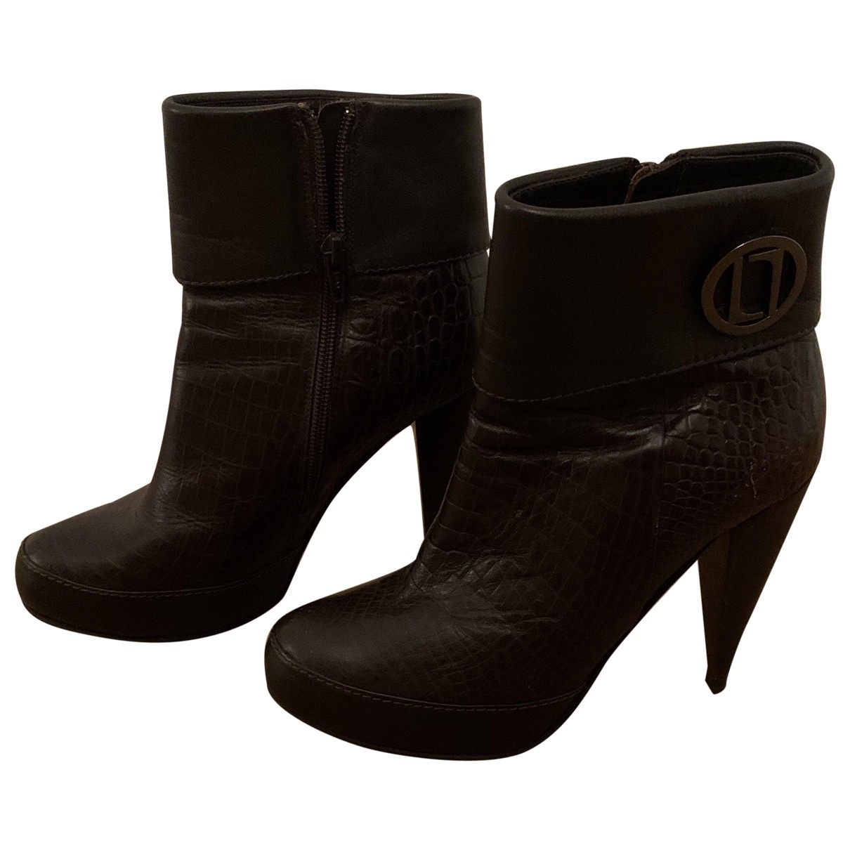 Laurel \N Brown Leather Ankle boots for Women 38 EU