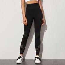Laser Cut Out Wide Waistband Sports Leggings