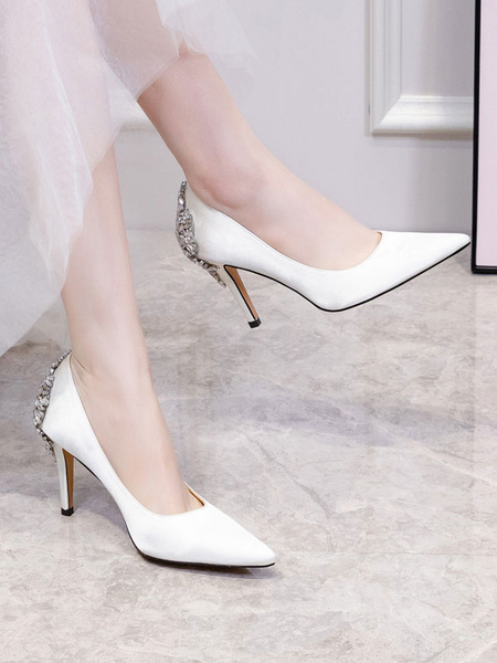 Milanoo High Heel Party Shoes White Pointed Toe Rhinestones Evening Shoes