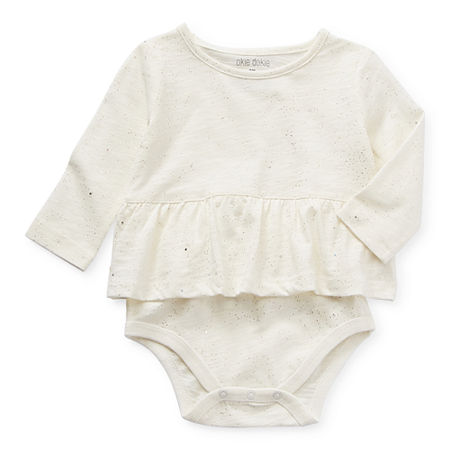 Okie Dokie Long Sleeve Baby Girls Bodysuit, Newborn , White