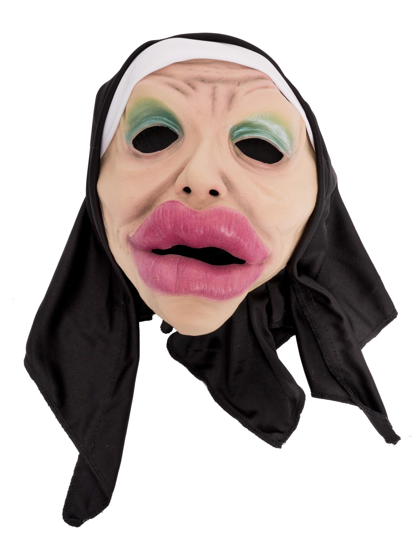 Kostuemzubehor Latexmaske Nonne mit Mund Farbe: beige