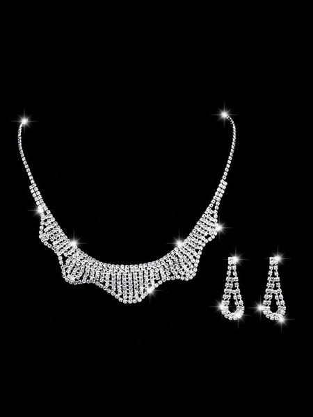 Milanoo Conjunto de joyeria de plata de la boda aro pendientes y collar Conjunto de collar de novia de diamantes de imitacion