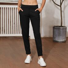 Wide Waistband Solid Sports Pants