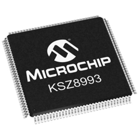 Microchip KSZ8993M Ethernet Switch, MII/MIIM/SNI, 10 Mbps, 100 Mbps 1.8 V, 3.3 V, 128-Pin PQFP