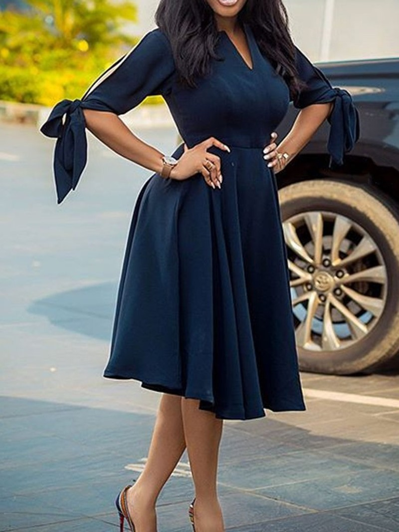 Ericdress Knee-Length V-Neck Half Sleeve Regular Women's Casual Dress