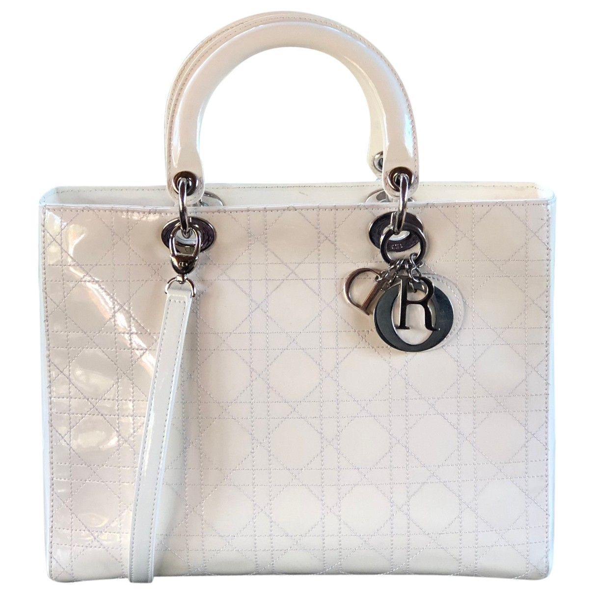 Dior \N Handtasche in  Ecru Lackleder