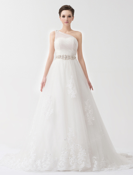 Milanoo Ivory A-line One-Shoulder Lace-up Lace Tulle Bridal Wedding Gown