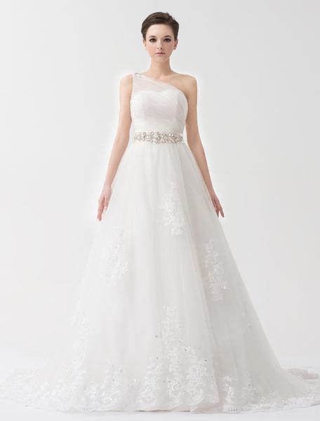 Milanoo Vestido de novia de tul de color marfil de un solo hombro