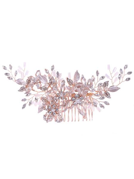 Milanoo Accesorios para el cabello de metal de flor de peine de boda para la novia