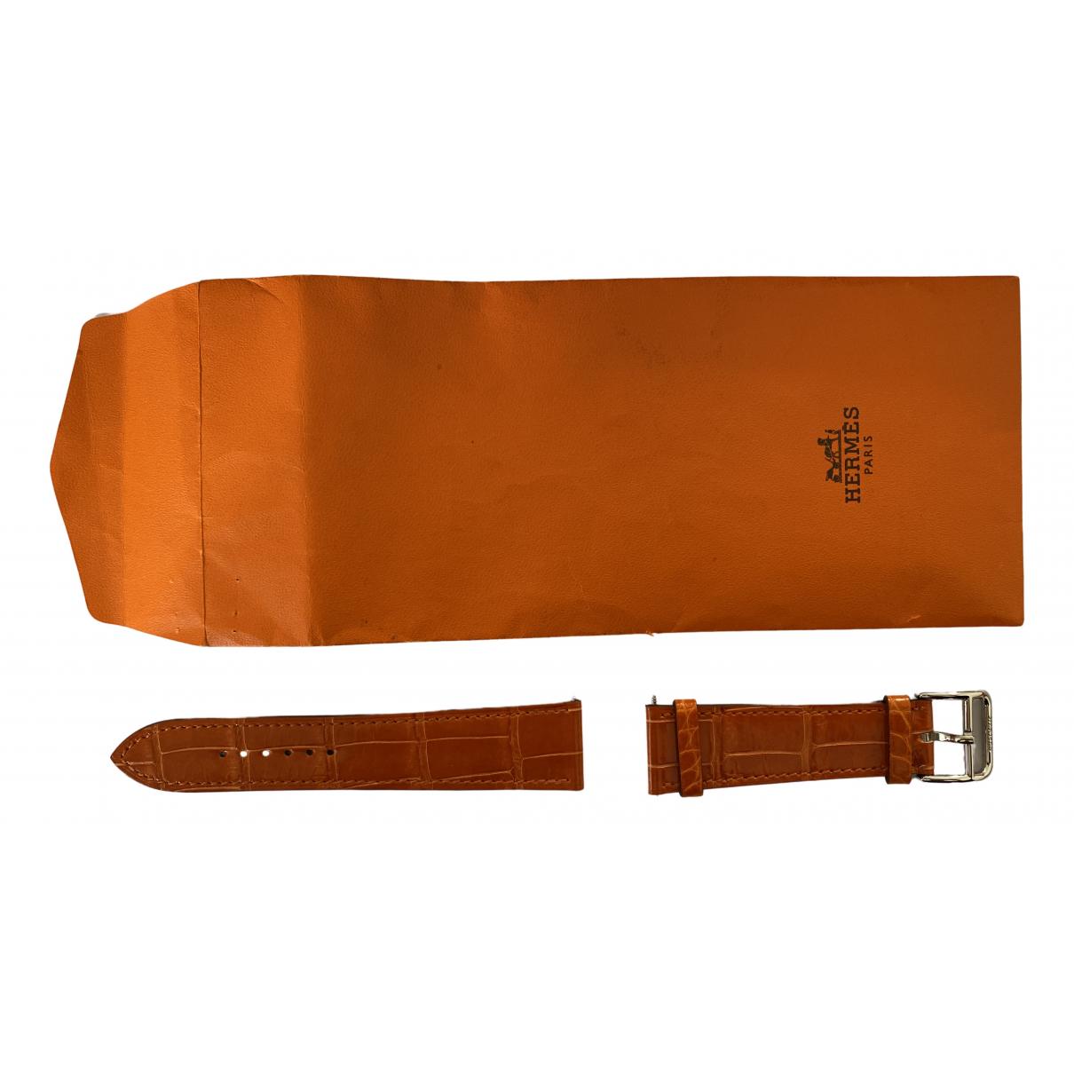 Hermes - Montre Belt pour femme en cuir exotique - orange