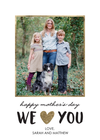 Mother's Day Cards 5x7 Folded Cards, Standard Cardstock 85lb, Card & Stationery -Mom's Day Love You