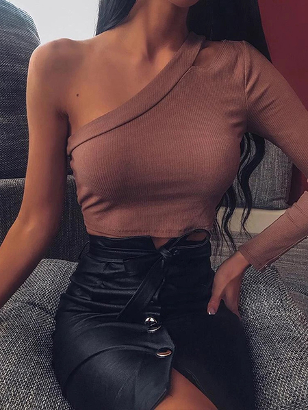 Yoins Cut Out One Shoulder Long Sleeves Crop Top