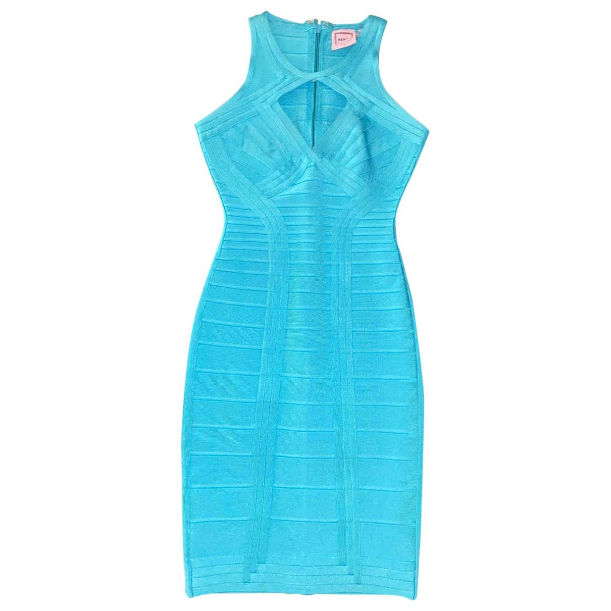 Herve Leger - Robe   pour femme en coton - elasthane - turquoise