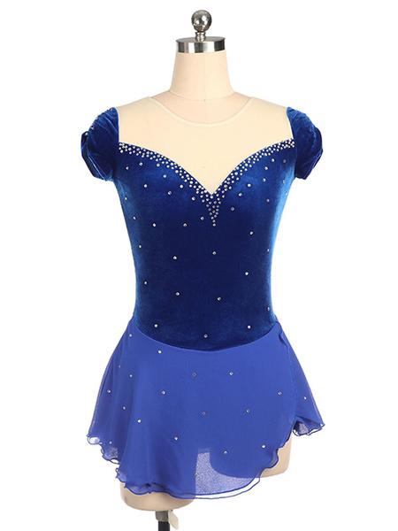 Milanoo Skating Dress Royal Blue Beading Sheer Ruffle Velvet Dance Costumes Halloween