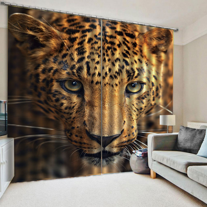3D Decorative Blackout Living Room Window Curtains with Leopard Head No Pilling No Fading No off-lining
