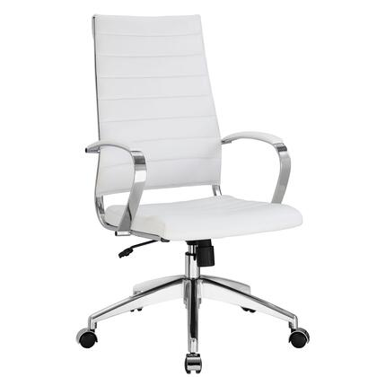 Jive Collection EEI-272-WHI Office Chair with 5-Caster Dual Wheel Base  Padded Arms  Chrome-Plated Aluminum Frame  Tilt Lock Tension Control