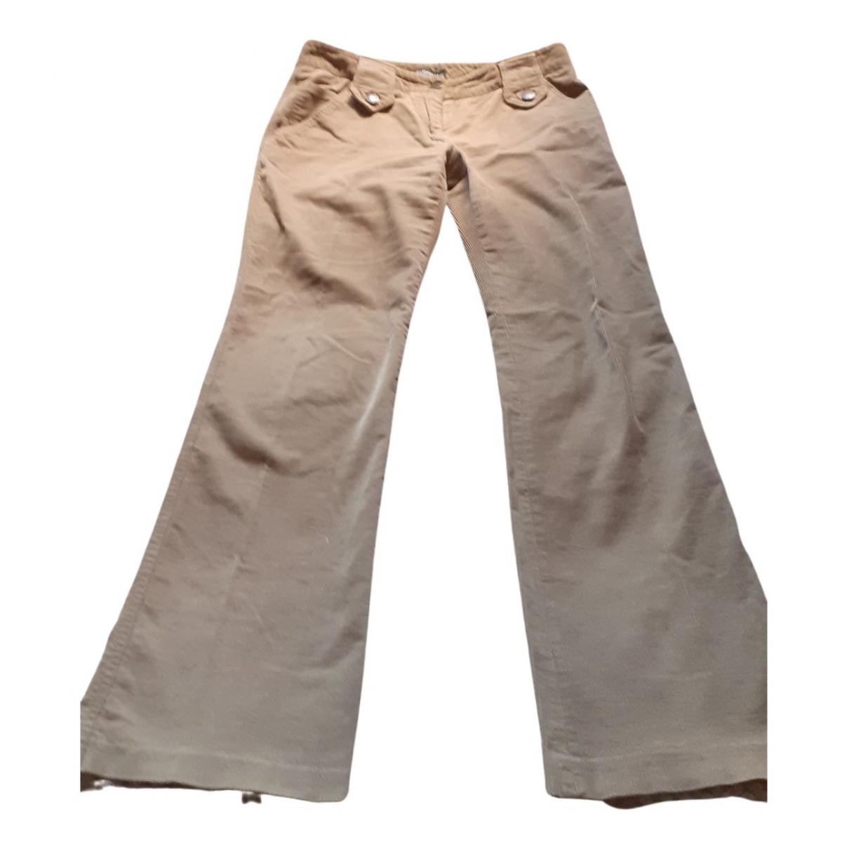 Dolce & Gabbana N Beige Velvet Trousers for Women 38 IT