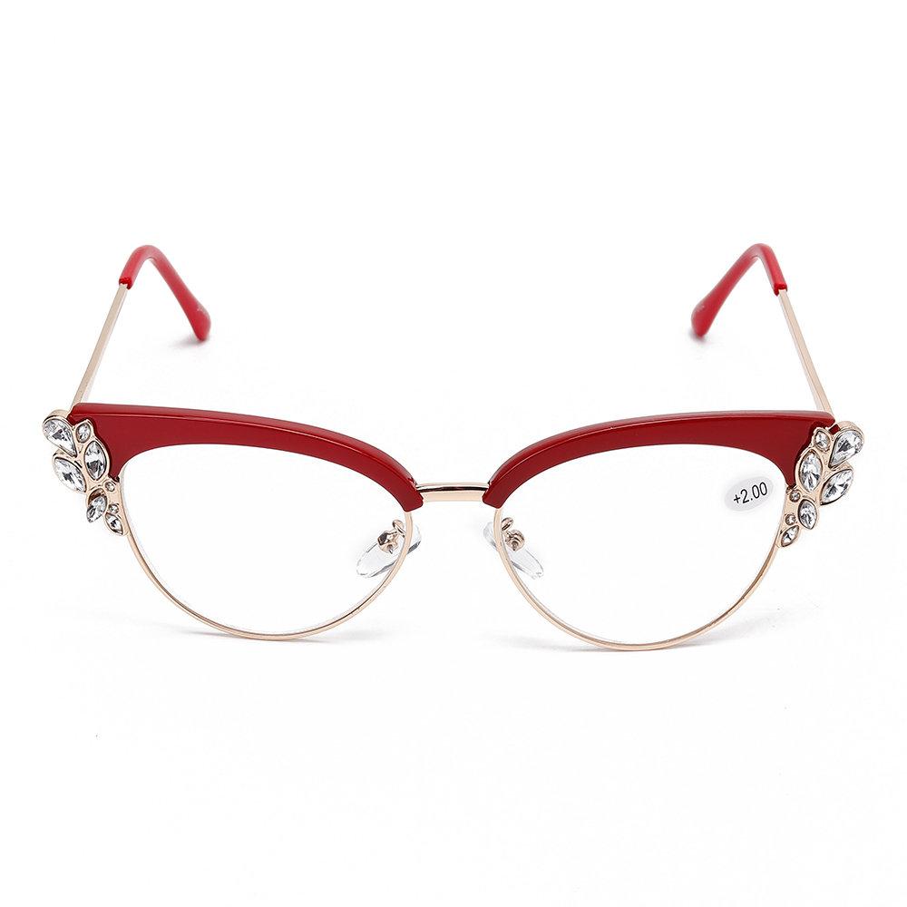 Women Men Elegant Generous Diamond Metal Frame Reading Glasses Eyewear Presbyopic Glasses