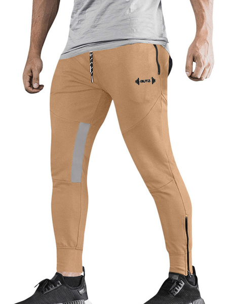 Milanoo Men Workout Pants Lightweight Gym Training Sport Pants With Zipper