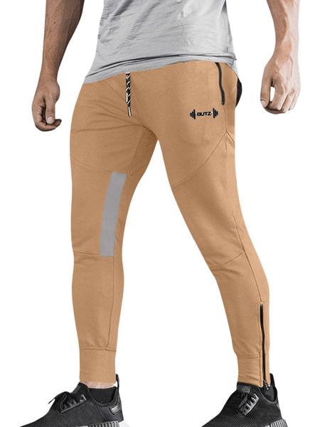 Milanoo Pantalones de entrenamiento para hombres Pantalones deportivos ligeros de entrenamiento de gimnasio con cremallera
