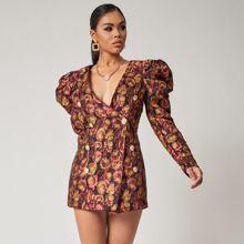 Vestido blazer jacquard floral con botones delanteros de manga gigot