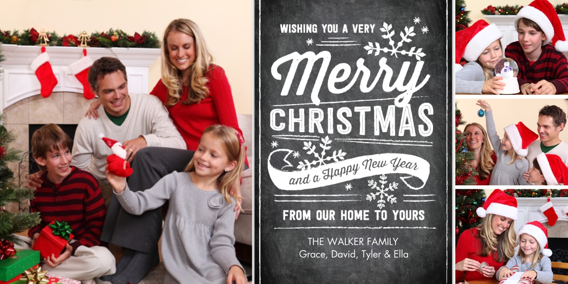 Christmas Photo Cards Flat Matte Photo Paper Cards with Envelopes, 4x8, Card & Stationery -Christmas Festive Greetings