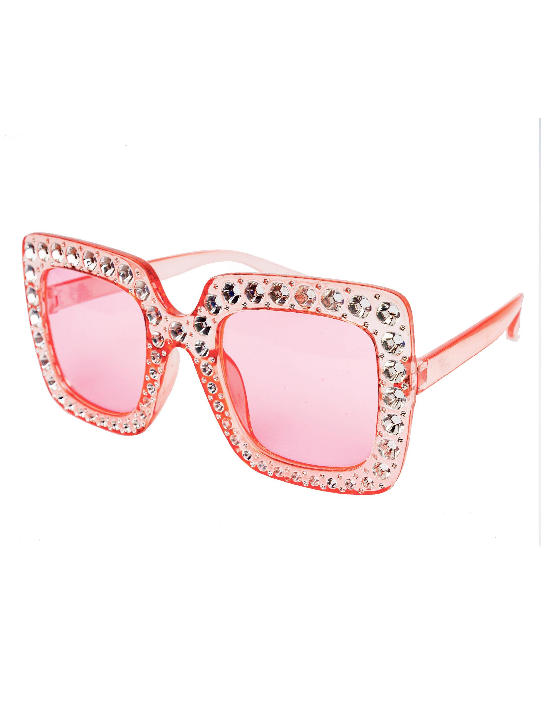 Kostuemzubehor Brille eckig pink