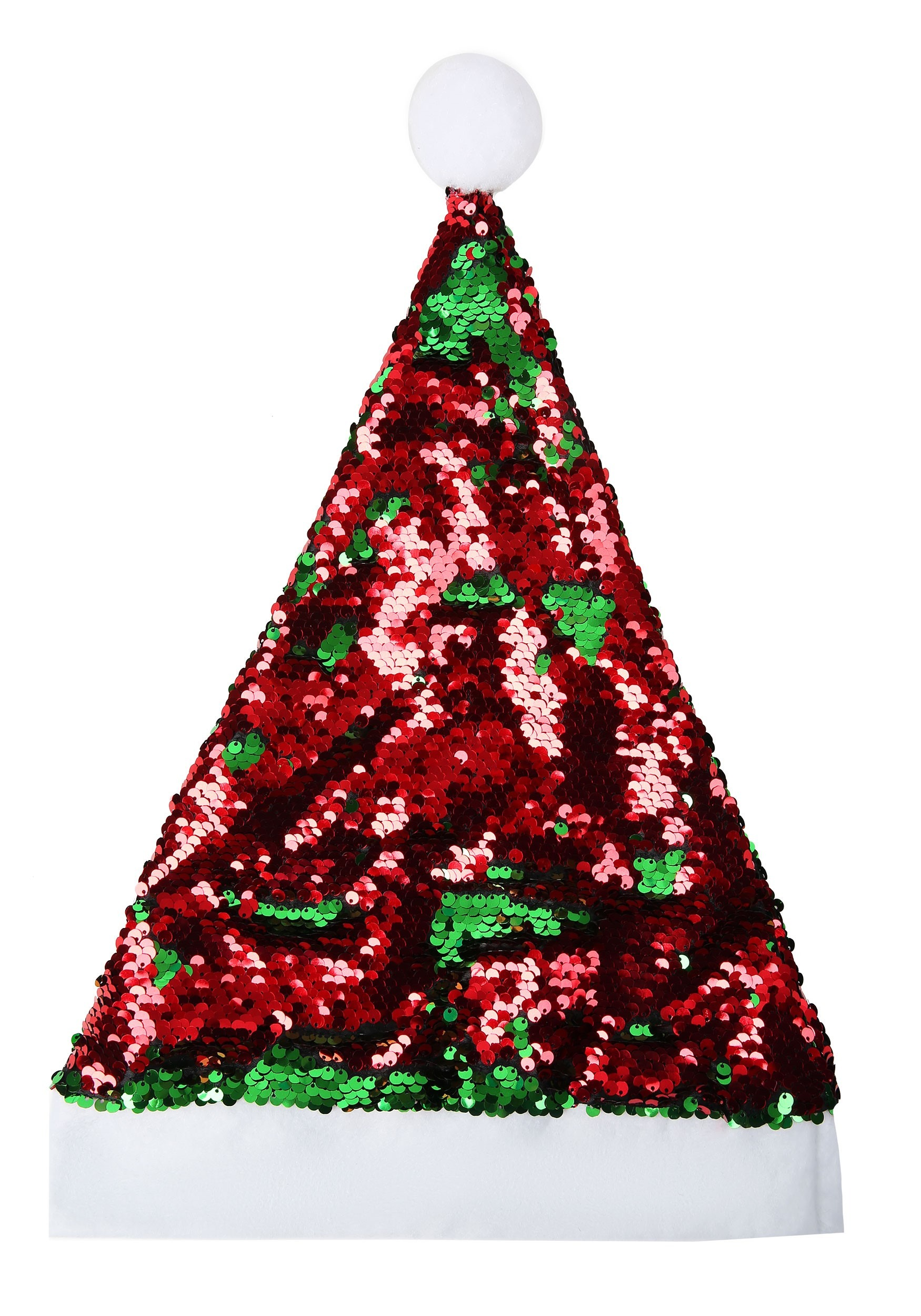 Red and Green Flip Sequin Santa Claus Hat