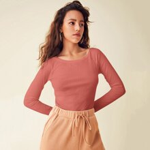 Raglan Sleeve Rib-knit Top
