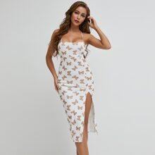 Allover Butterfly Print Crisscross Tied Backless Split Thigh Dress