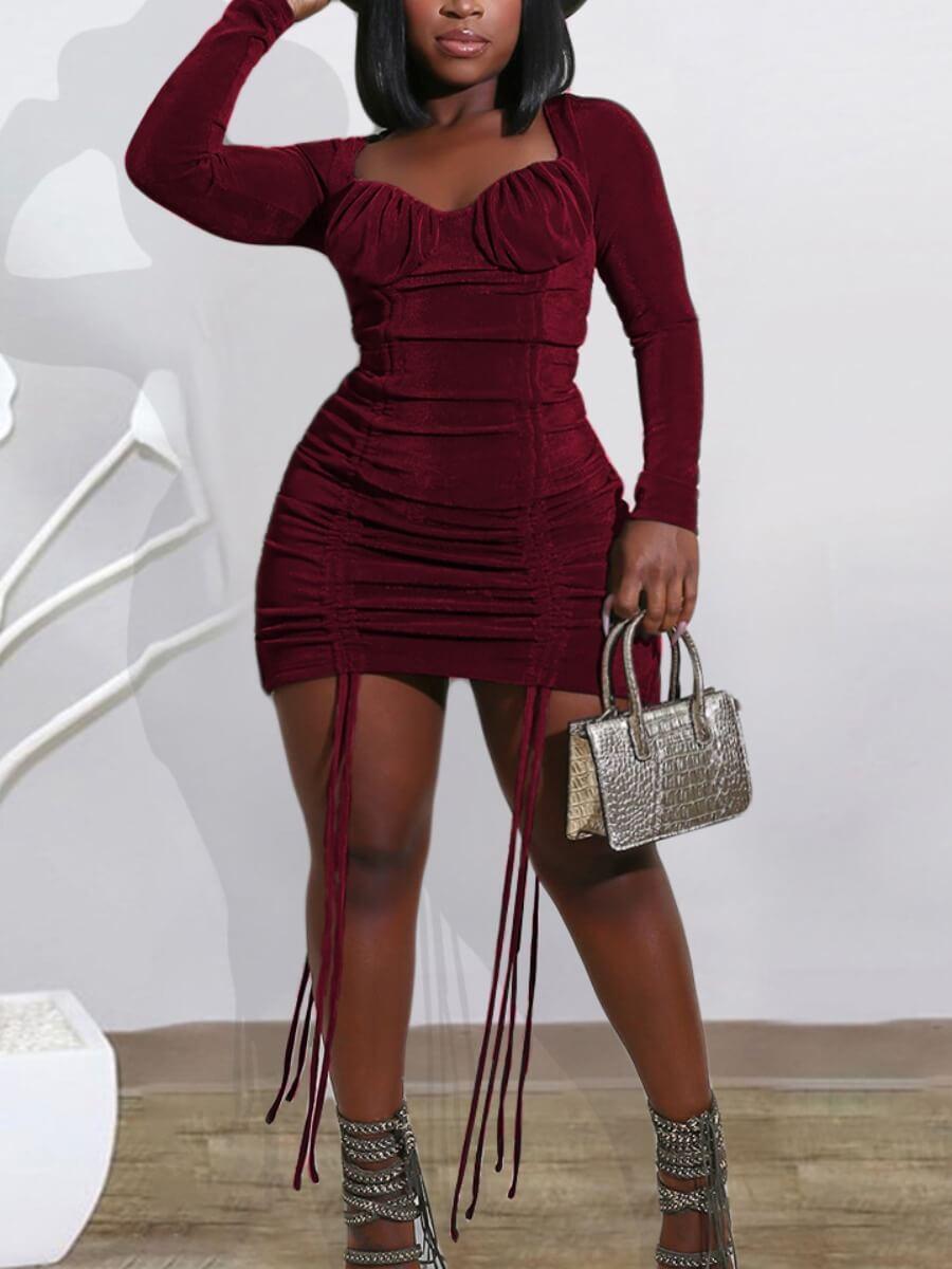 LW Lovely Trendy Square Collar Fold Design Wine Red Mini Plus Size Dress