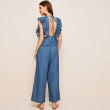Buttoned Tie Back Ruffle Trim Top & Wide Leg Pants Set