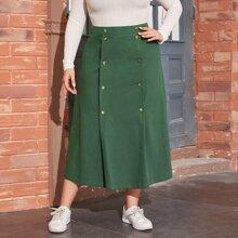 Plus Double Button Front Skirt