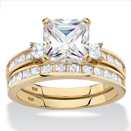DiamonArt Womens 4 1/4 CT. T.W. White Cubic Zirconia 14K Gold Over Silver Square Bridal Set, 10 , No Color Family