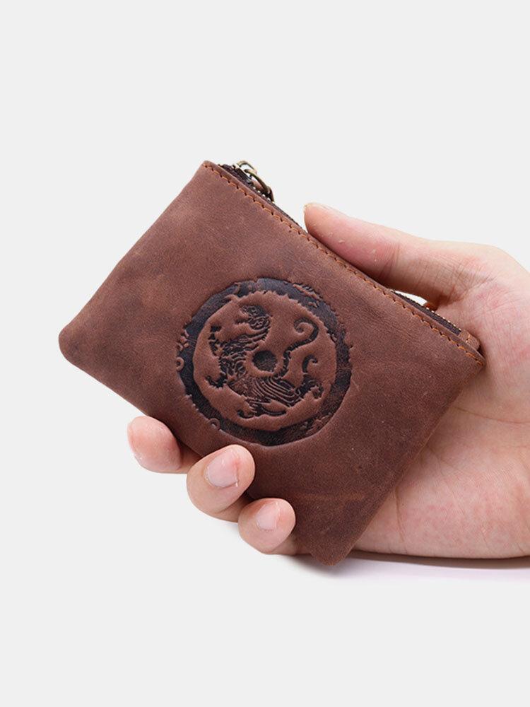 Men Genuine Leather Retro Mini Tiger Fish Pattern Storage Bag Coin Bag Wallet