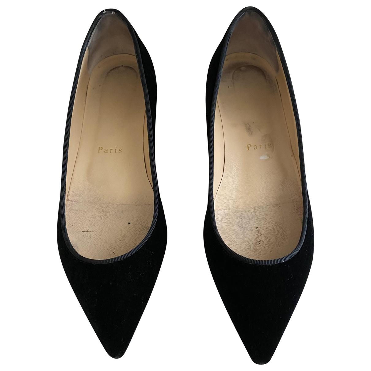 Christian Louboutin \N Black Velvet Ballet flats for Women 37 EU