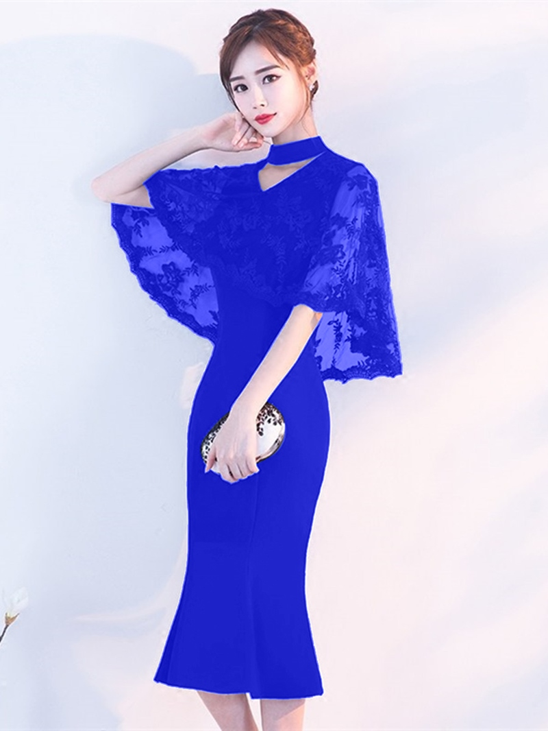 Ericdress High Neck Mermaid Bodycon Homecoming Dress With Lace Cape