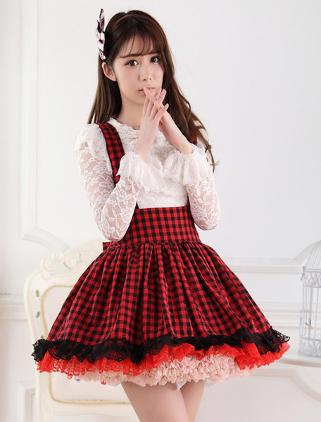 Milanoo Red Black Gingham Lolita Skirt Salopette Lace Lining
