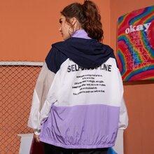 Jacke mit Buchstaben Grafik, Farbblock, Reissverschluss und Kapuze