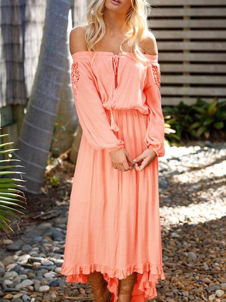 Milanoo White Long Dress Boho Lace Off The Shoulder Long Sleeve High Low Maxi Dress For Women