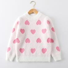 Toddler Girls Heart Pattern Sweater