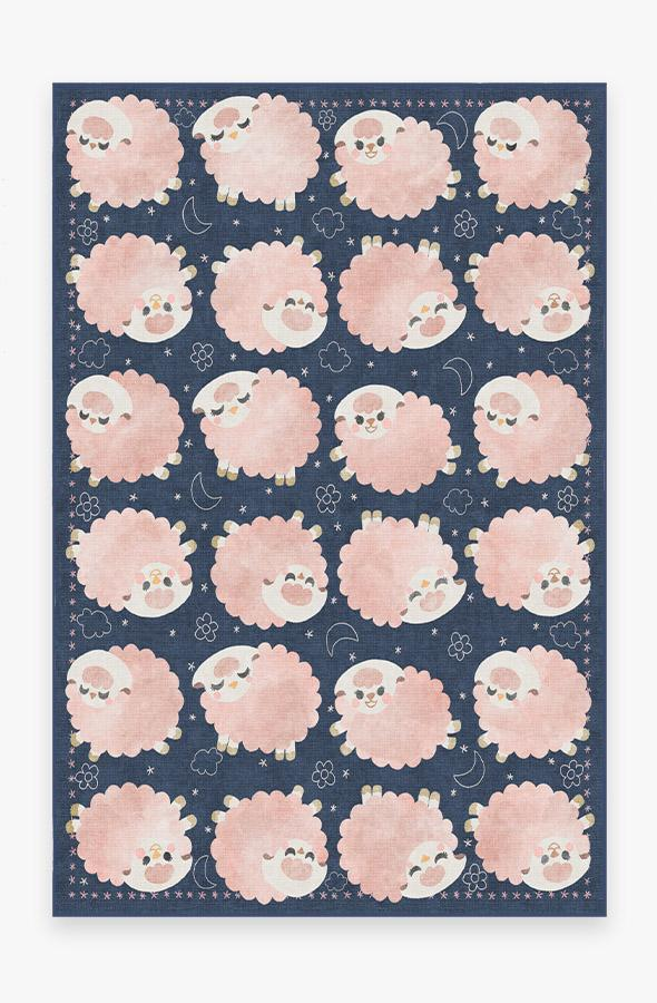 Washable Rug Cover & Pad | Sleepy Sheep Navy Pink Rug | Stain-Resistant | Ruggable | 6x9
