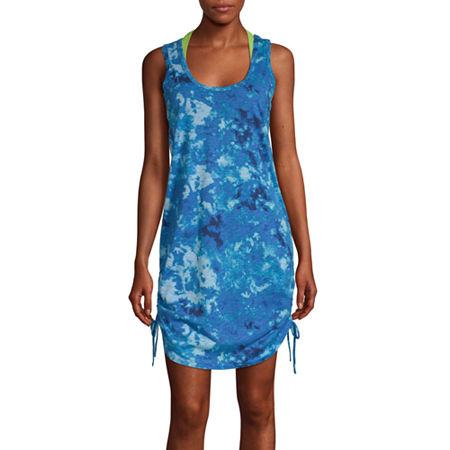 City Streets Dress Swimsuit Cover-Up Juniors, Medium , Blue