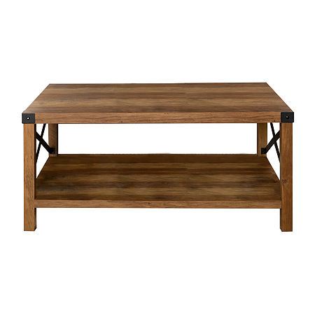 Farmhouse Rustic Square Coffee Table, One Size , Brown