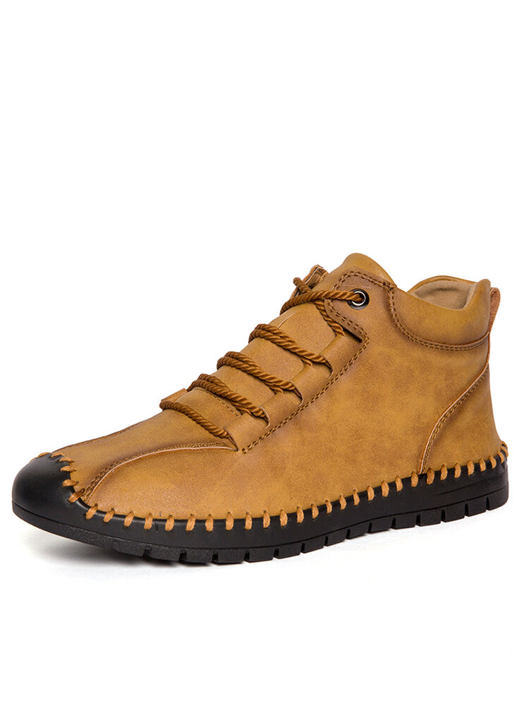 Men Hand Stitching Microfiber Leather Non Slip Casual Retro Boots