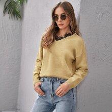 Drop Shoulder Lace Trim Sweater