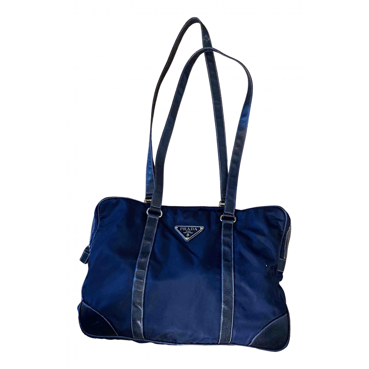 Prada - Sac a main Tessuto city pour femme en toile - bleu
