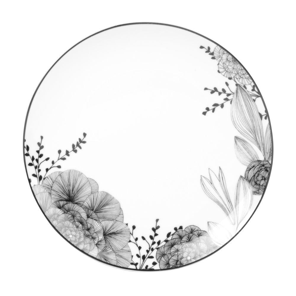 Dessertteller aus weissem Porzellan mit Blumenmotiv