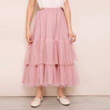 Girls Swiss Dot Mesh Ruffle Hem Skirt