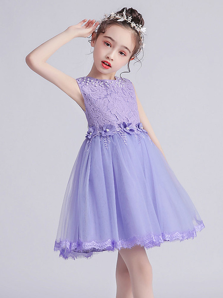 Milanoo Flower Girl Dresses Jewel Neck Sleeveless Bows Kids Social Party Dresses